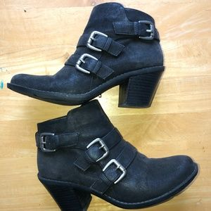 Vegan black moto ankle boot